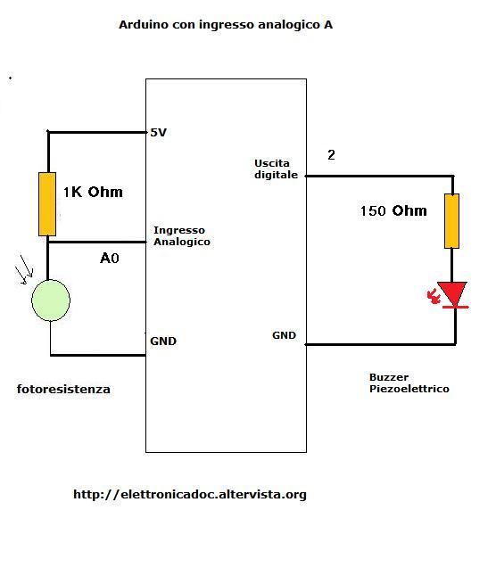Schema Elettrico Per Accendere Una Lampadina : Arduino con fotoresistenza