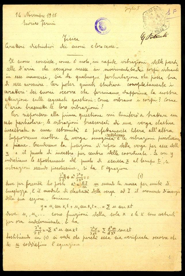 Compito do Fisica di Enrico Fermi