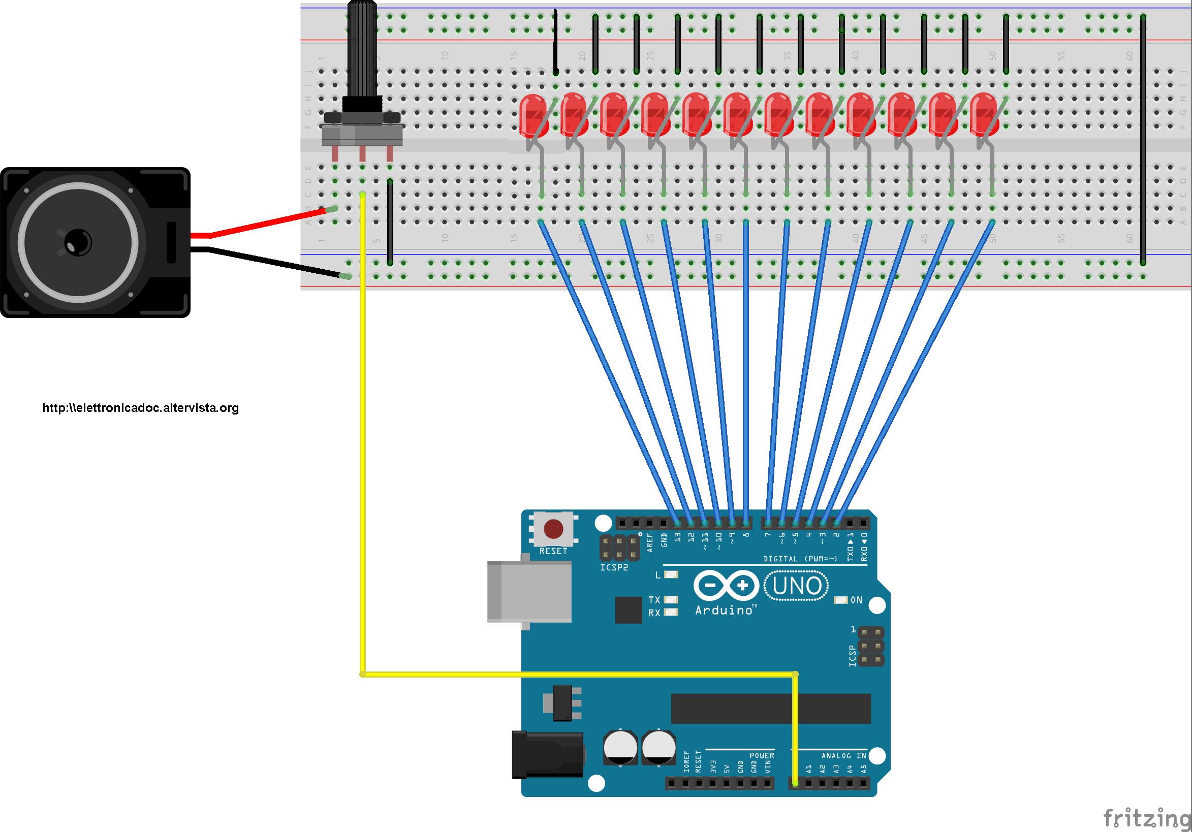 Roulette elettronica a led schema