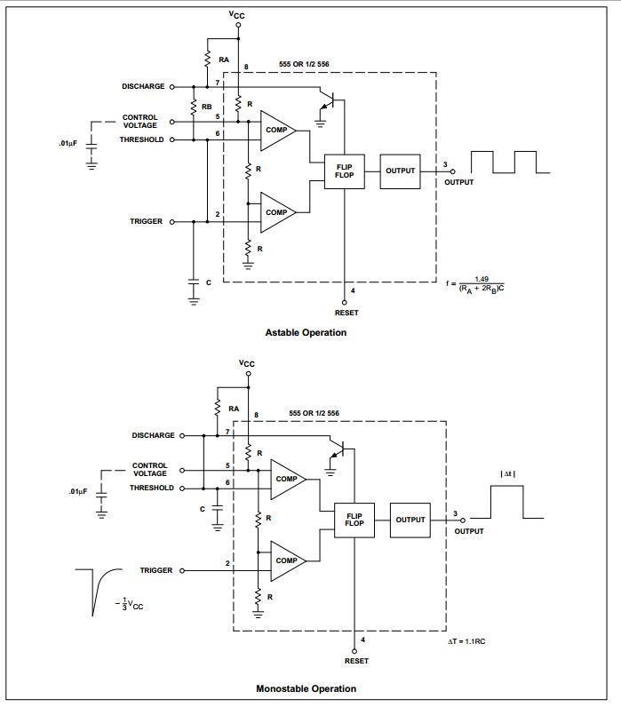 Timer 555 schema interno